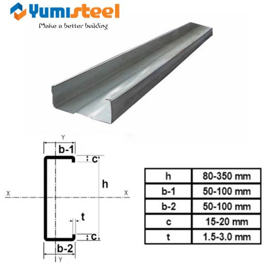 Metal C purlin for loft floor